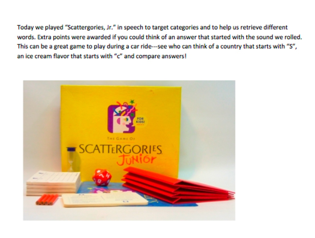 picture about Scattergories Answer Sheets Printable called Scattergories, Jr. Elena Marie, SLP